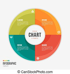 Cycle chart infographic template with 4 parts, options, steps
