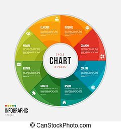 Cycle chart infographic template with 8 parts, options, steps