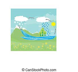 cycle, eau, dans, nature, environnement