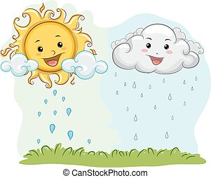 cycle, eau, soleil, mascotte, nuage