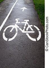 Cycle Icon on Tarmac in White Chalk
