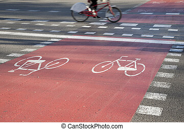 Cycle Lane in Barcelona, Spain