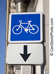 Cycle Lane Sign on Street in Paris, France