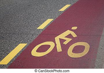 Cycle Lane Symbol on Road