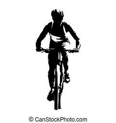 cycle montagne, résumé, motard, devant, vecteur, vue, ...