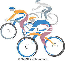 Colorful cycling race with three bike riders. Vector illustrations.