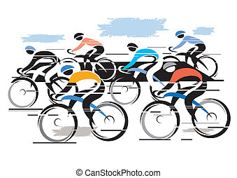 Colorful vector illustration of cycling race with six bike riders.