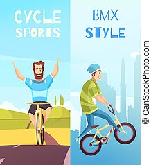 Cycle Racing Vertical Cartoon Banners