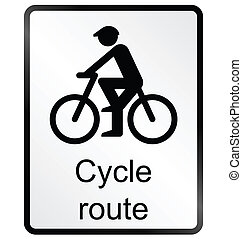 Cycle route Information Sign - Monochrome cycle route public...