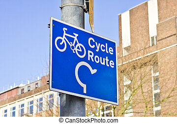 Sign for a cycle route in the UK