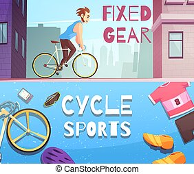 Cycle Sports Horizontal Cartoon Banners