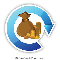 cycle Stacks of coins and money bag illustration design