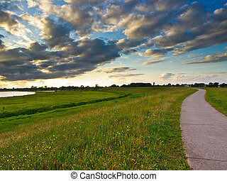 Cycle track in the Netherlands - Cycling track on the river...
