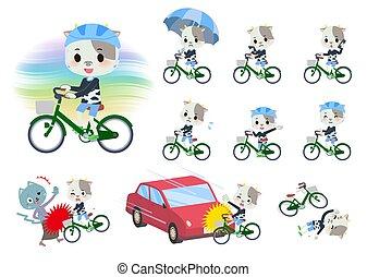 cycle, vache, garçon, ville, animal