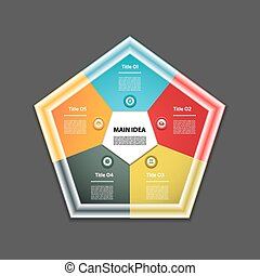 Cyclic diagram with five steps and icons. Infographic vector...