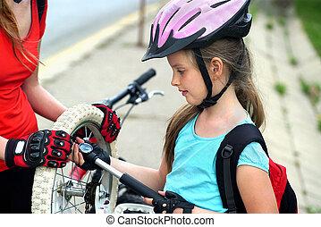 cycling, семья, girls, вверх, tire., насос, велосипед,...
