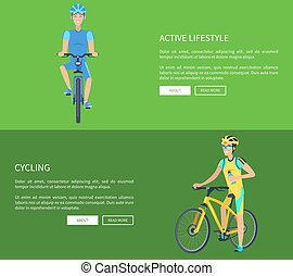 Cycling and Active Lifestyle Vector Illustration - Cycling...