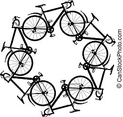 Editable vector illustration of six generic bicycle silhouettes joined in a hexagonal ring