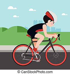 Cycling athletic sport vector cartoon illustration set