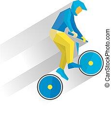 Cycling BMX. Cartoon cyclist jump on bike, with shadows behind.