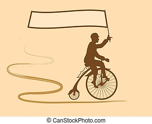 Cycling champion and the flag of hi