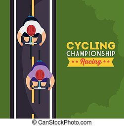 cycling championship racing poster with view aerial of cyclists