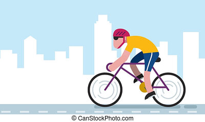 Cycling City - Animation of flat design character cycling on...