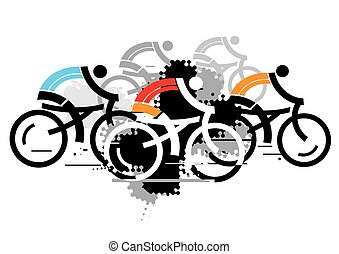 Abstract stylized colorful illustration of Group of cyclists. Isolated on the white background. Vector available.