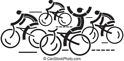 Cycling competition - Four graphic styled racing cyclists. ...