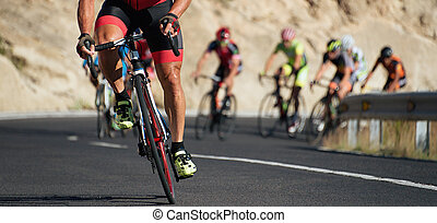 Cycling competition cyclist athletes riding a race on the...