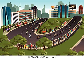 A vector illustration of cycling competition with city in the background
