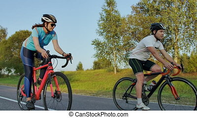 Cycling competition,cyclist athletes riding a race at high...