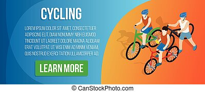 Cycling concept banner, isometric style