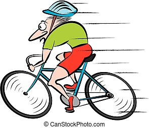cycling, cyclist - vector outlines of cyclist, healthy ...