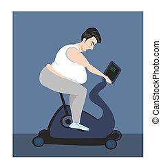 Cycling fat man on bike in gym