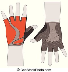 cycling gloves, front and back view on a white background