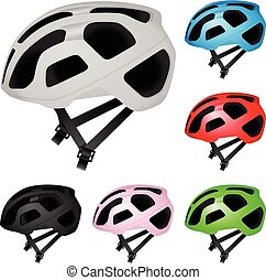 Cycling helmet set on a white background. Vector illustration.