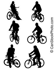 vector graphic silhouettes of people on bicycles on a white background