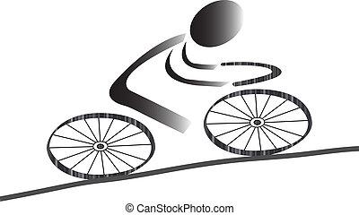 Biking icon men with gradients as illustration