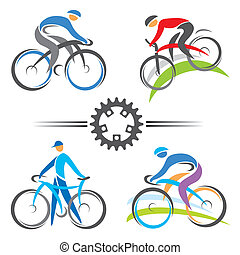 Colorful cycling and mountain biking icons. Vector illustrations.