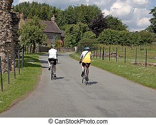 cycling, in, de, brits, platteland