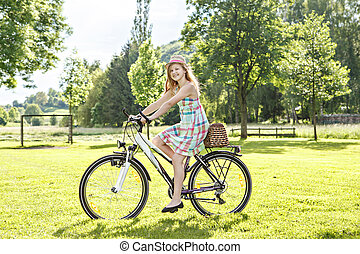 cycling, in, een, park