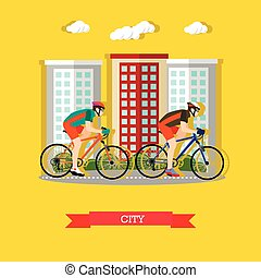 Cycling in the city, flat design