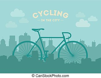 Cycling in the city. Flat style illustration.