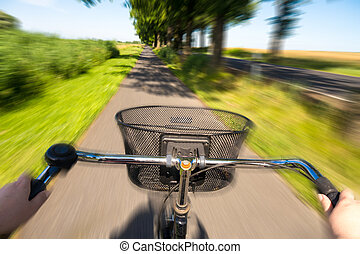 cycling, in, zomer