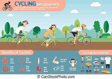 Cycling infographics. concept cycling with smiling cartoon man and woman riding on a bike with set of flat icons about bicycling and benefit of cyclists Vector illustration.