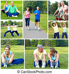 cycling, jogging, fitness - Happy elderly senior couple...