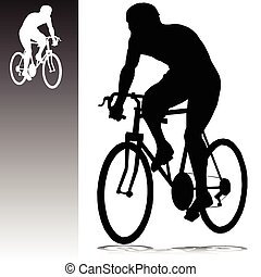 cycling, man, vector, silhouettes