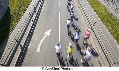 cycling, marathon., bovenzijde, -, hd, aanzicht