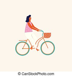 cycling, mensen, illustratie, bicycle., vector., paardrijden, meisje
